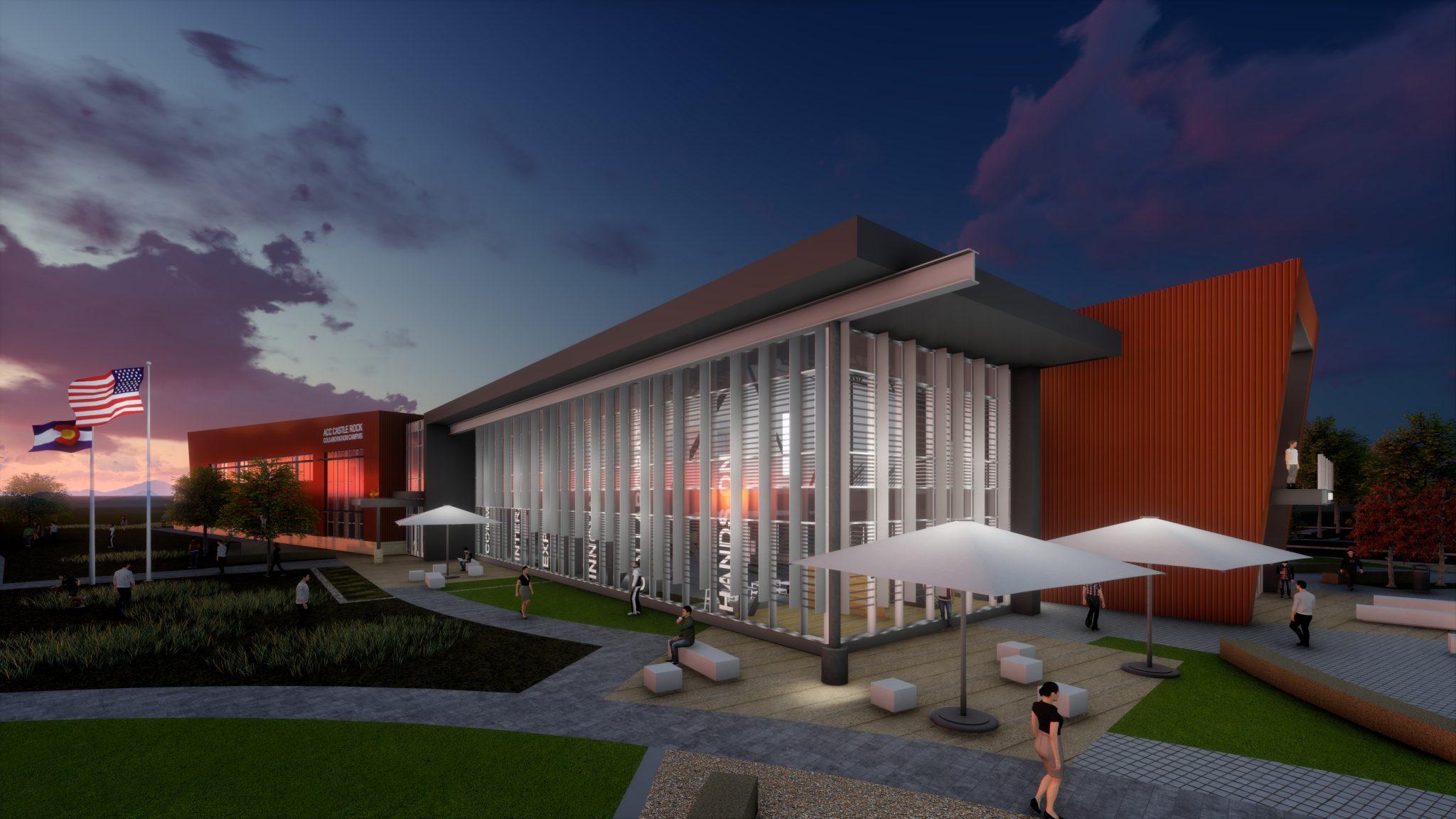 Exterior rendering of new CSU Castle Rock Collaboration campus