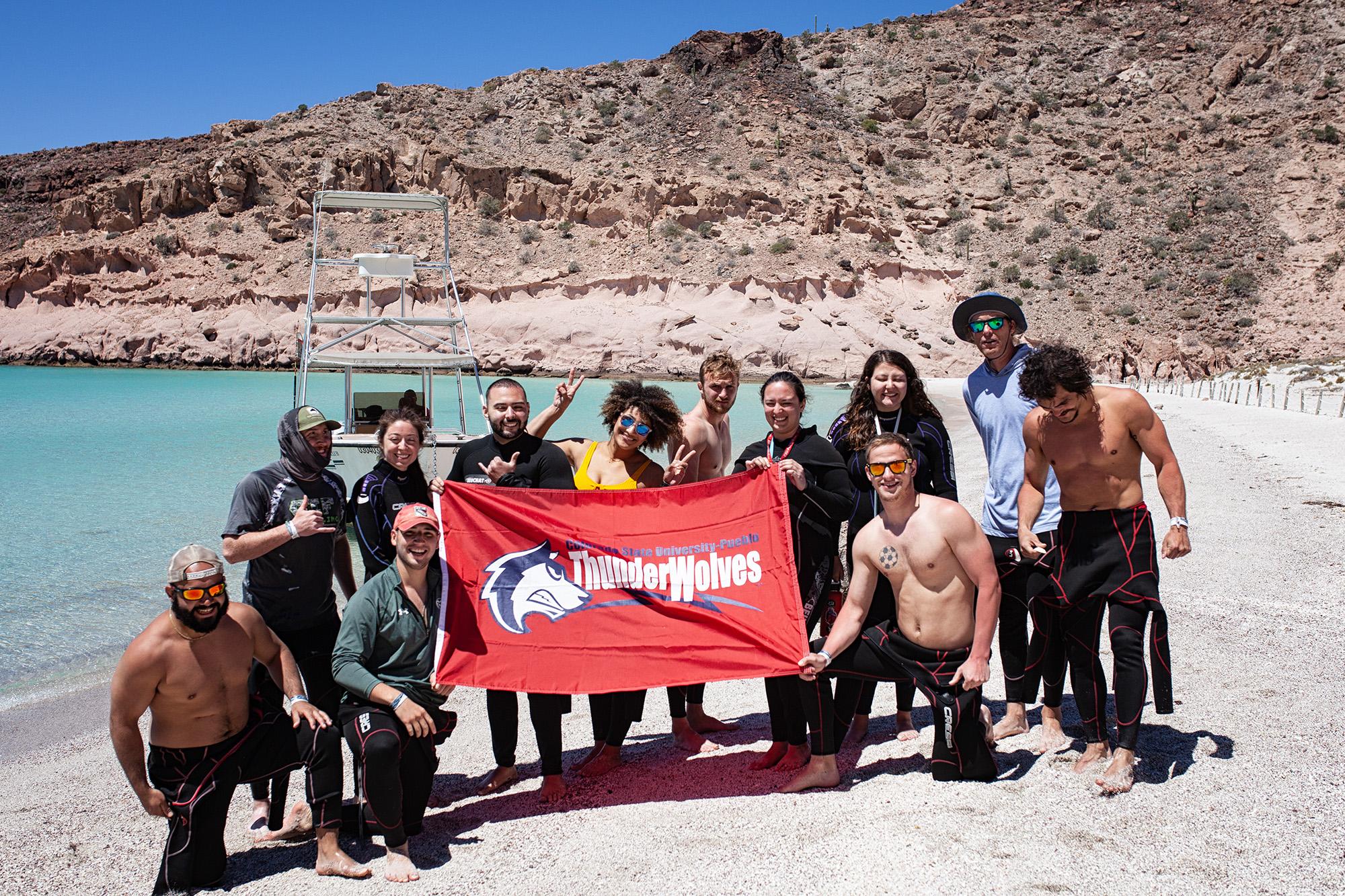 CSU-Pueblo students on beach at Baja California Sur