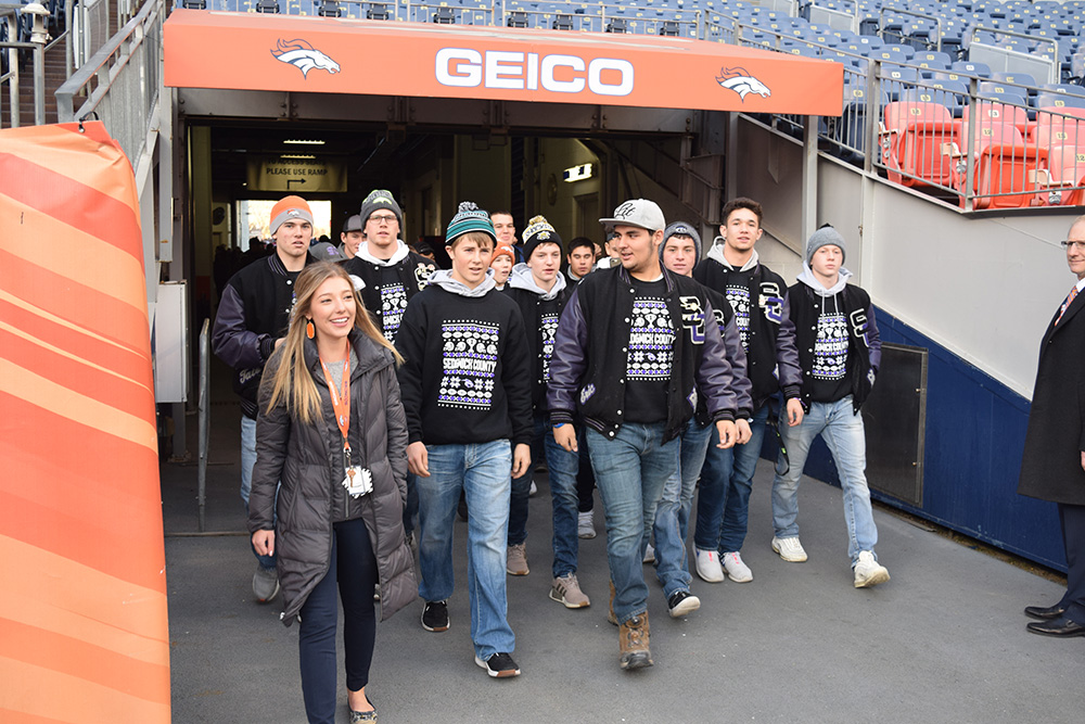 Carlee Craddock led a tour of Broncos Stadium at Mile High while working as an intern for the organization.