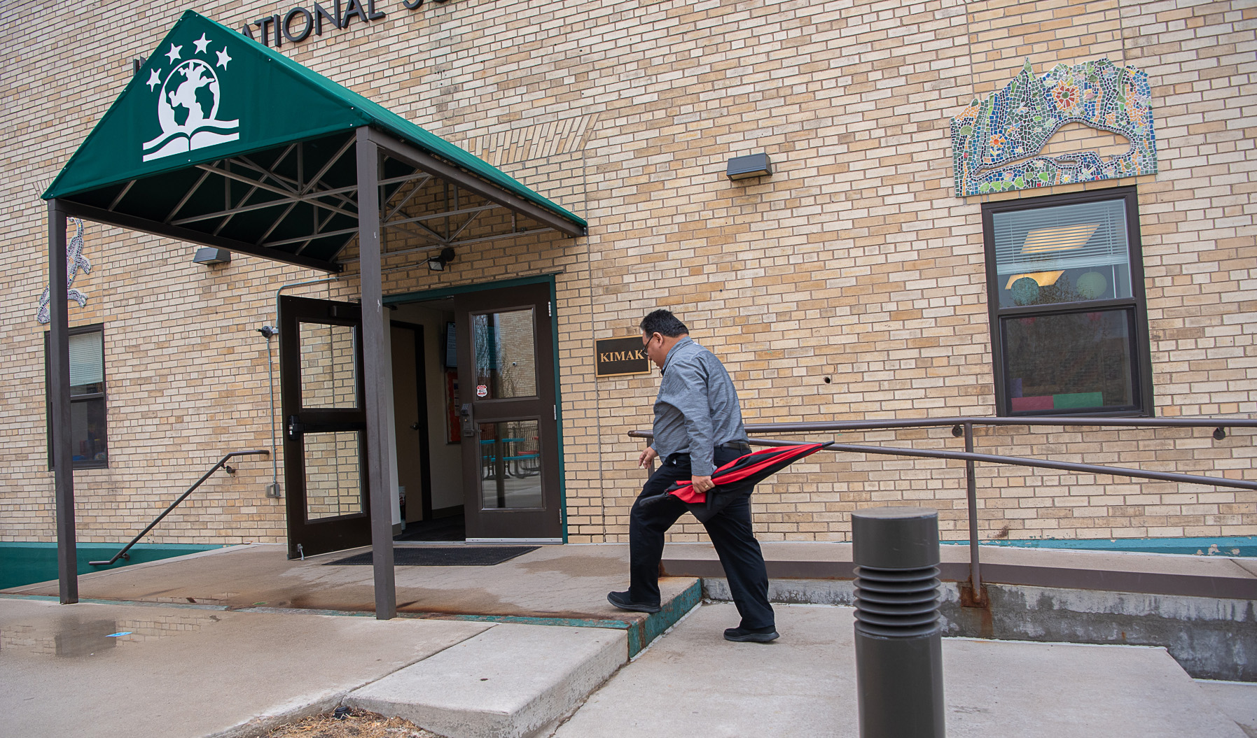 Nuñez walking into work at the Haselden Construction headquarters in Centennial, near Denver