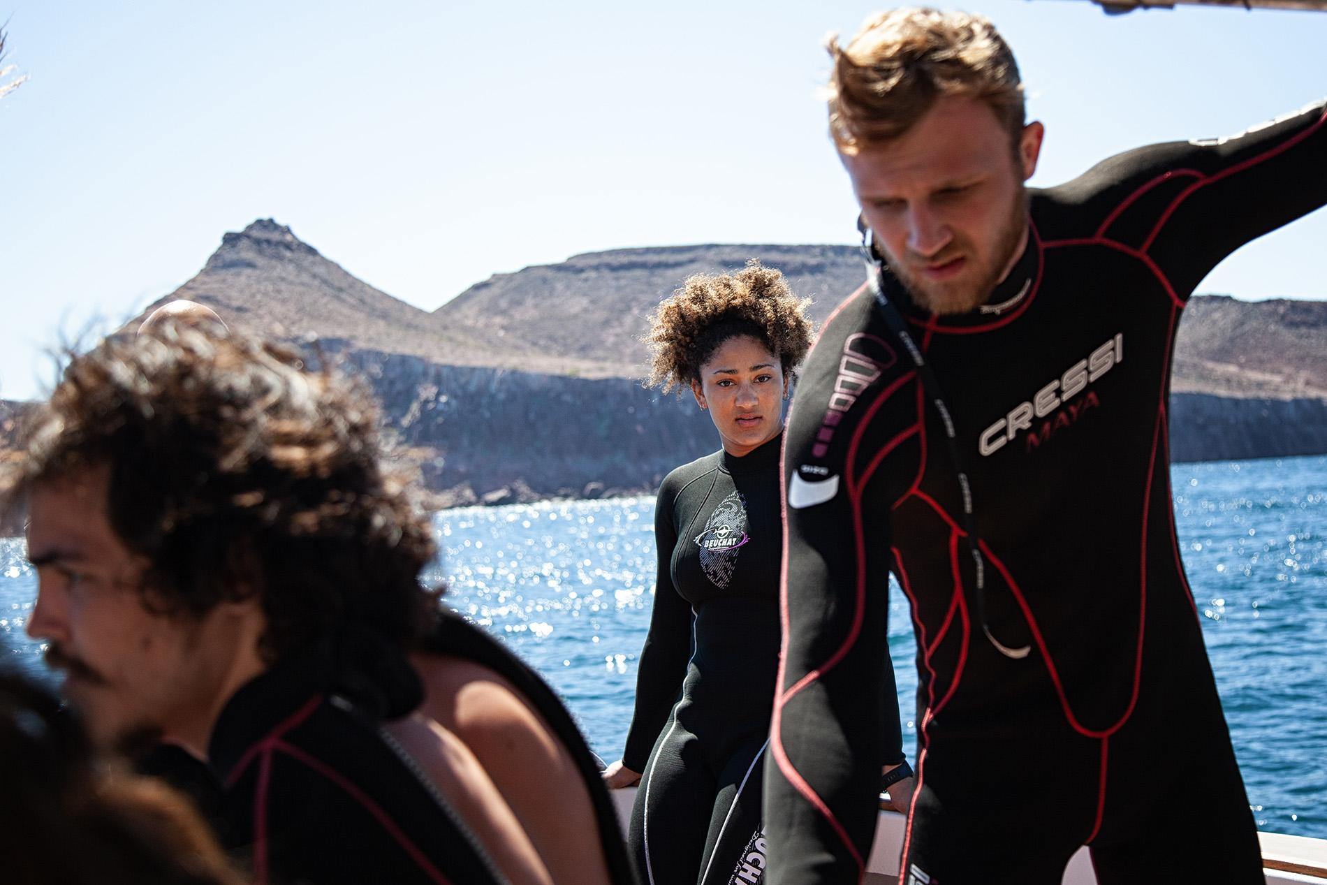 CSU-Pueblo students Kiara Olson and Clay Archer prepare to snorkel in the Baja California ocean.