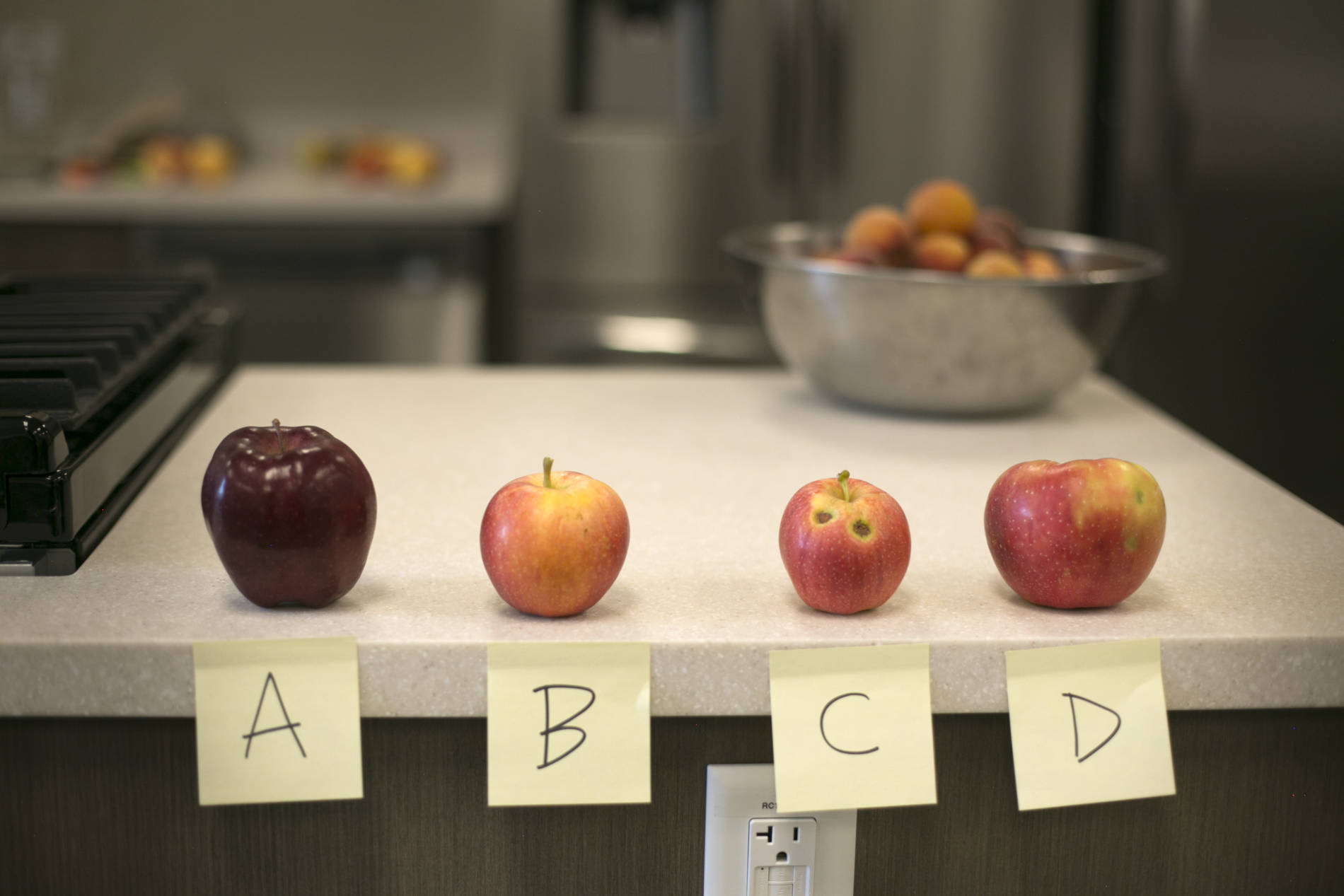 Four varieties of apples labeled A-D