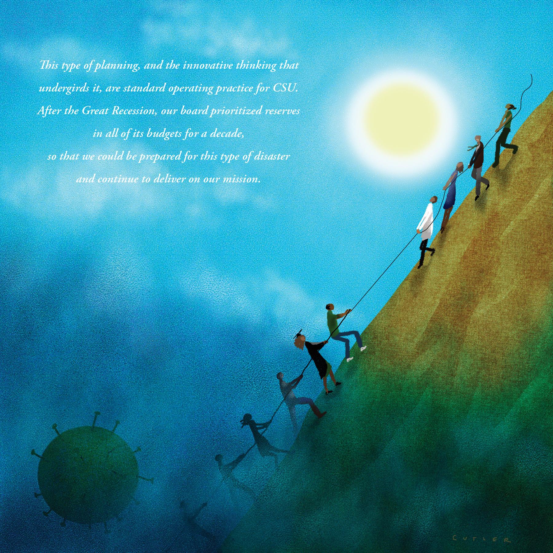 illustration of tug of war on a moonlit mountainside